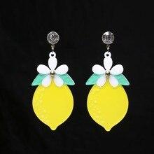 Flower Lemon Drop Earrings Acrylic Fruit Women Girl Long Dangle Summer Fashion Jewelry New