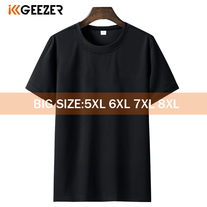 Black T-shirt Men 6XL 7XL 8XL Plus Size White Short Tshirt Summer Sport Running Fitness Breathable Tee Shirts For Men Streetwear