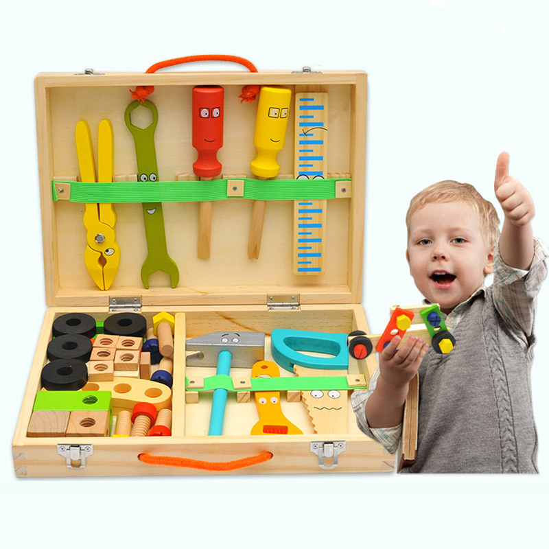Kids Wooden Toolbox Pretend Play Set Educational Montessori Toys Nut Disassembly Screw Assembly Simulation Repair Carpenter Tool 1