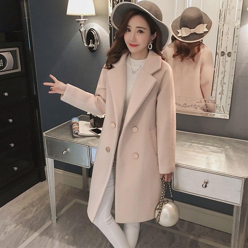 Women Winter 2019 Coats Autumn And Winter Coat New Large Size Pink Wool Coat Thick Long Coat Female