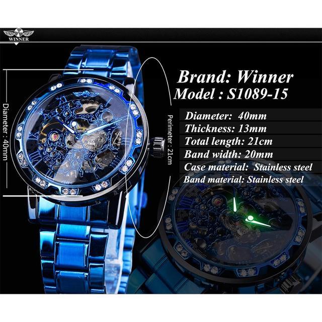 Winner Transparent Diamond Mechanical Watch Blue Stainless Steel Skeleton Watch Top Brand Luxury Business Luminous Male Clock 4