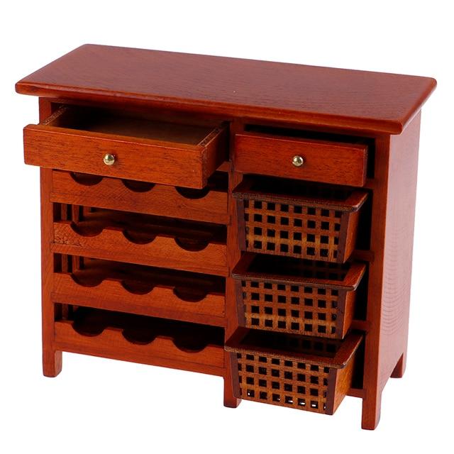 Nuevo 112 casa de muñecas modelo de simulación mini caoba vino cabinetfurniture cocina en caja de madera miniatura accesorios de cocina