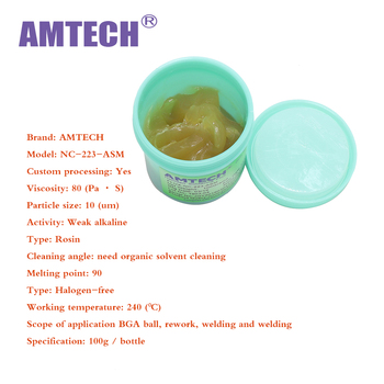 Pasta de soldadura BGA flux AMTECH-NC-223-ASM, resina tipo débil alcalina sin halógenos