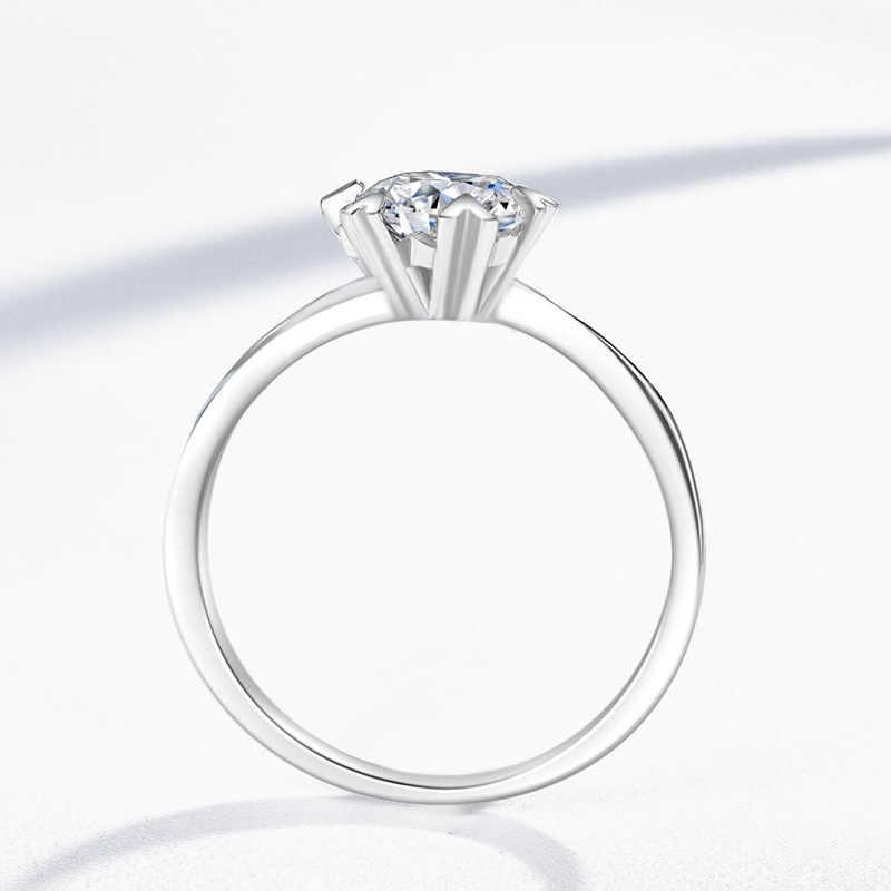 VS2 1 กะรัตเพชรแหวนเงิน 925 เครื่องประดับ Bizuteria Topaz อัญมณีเครื่องประดับงานแต่งงาน Silver 925 แหวนเพชรสีขาวกล่อง