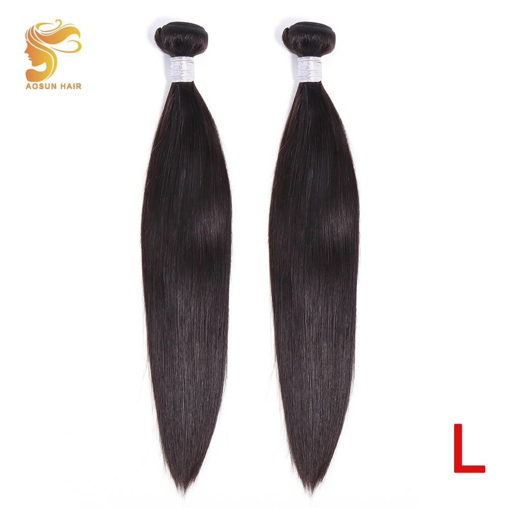 AOSUN HAIR Peruvian Hair Weaving Bundles Straight Human Hair Bundles 8-26inch Natural Color 2 Piece Remy Hair Extensions