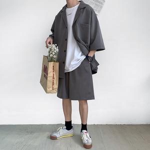 Image 3 - Style coréen hommes ensemble costume veste et Shorts solide mince à manches courtes poche unique genou longueur été surdimensionné vêtements homme