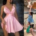 Женское неоновое атласное платье на шнуровке, летнее облегающее мини-платье без рукавов, с открытой спиной, элегантный наряд для вечерние, с...