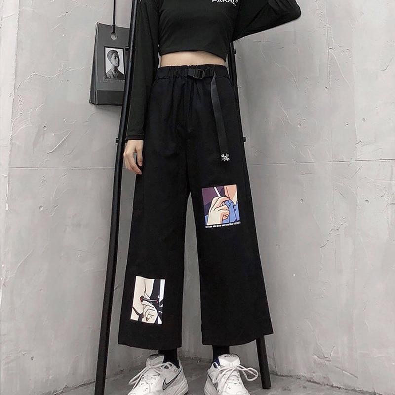 Sweatpants Streetwear Cargo Pants Women Casual Joggers Black High Waist Loose Female Trousers Korean Style Ladies Pants Capri