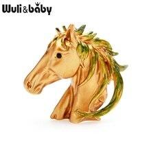 Wuli&baby Brown Black Enamel Horse Brooches Women Alloy Animal Weddings Banquet Brooch Pins Gifts