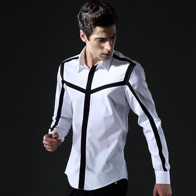 Couleur bloc Non repassage coton chemises hommes mince corps blanc chemise personnalité rayure chemises de base décontracté respirant vêtements M-4XL