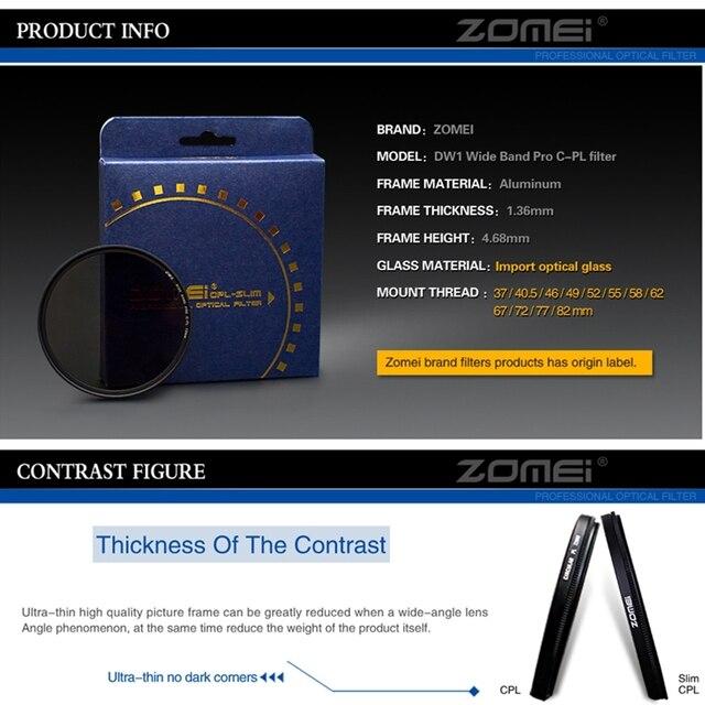 Trasporto Libero Zomei Ultra Sottile Agc Vetro Ottico Pro Cpl Polarizzazione Circolare Obiettivo Della Fotocamera Filtro Polarizzatore 52/55/58/ 62/67/72/77/82 Millimetri 2