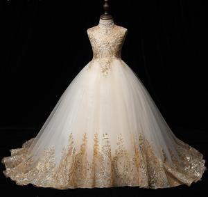 Длинное платье-пачка с золотыми блестками для девочек, вечерние платья для выпускного вечера, свадебные платья принцессы для девочек