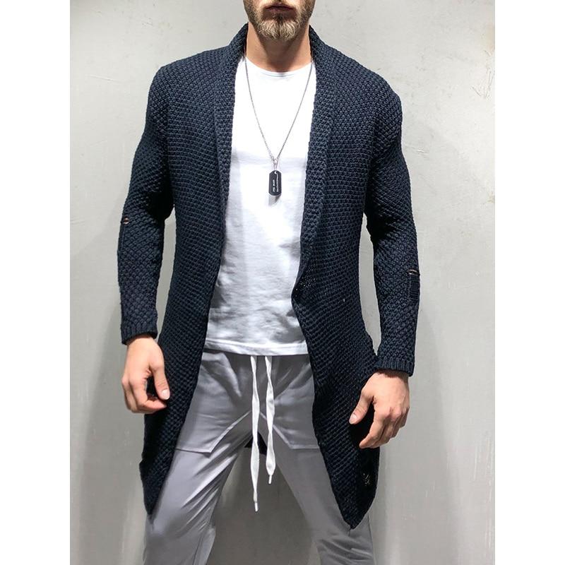 Cardigan masculino manga longa, malha de outono,