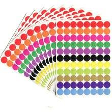880 шт./10 листов круглых точечных кругов, уплотнительные наклейки, бумажные ярлыки, цветные наклейки в горошек, клейкая посылка, этикетка, укр...