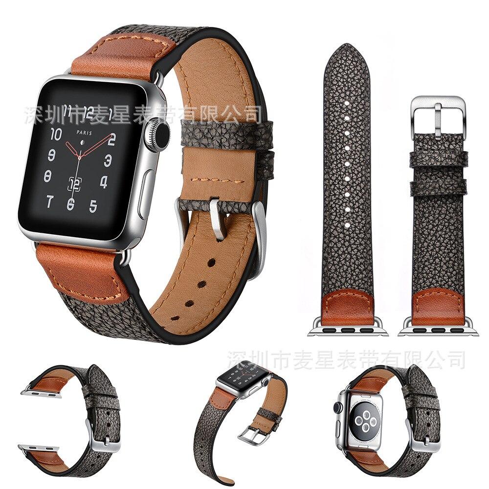 For Apple Watch Strap APPLE Watch1/2/3/4-Genuine Leather Stone Pattern IWatch Watch Strap