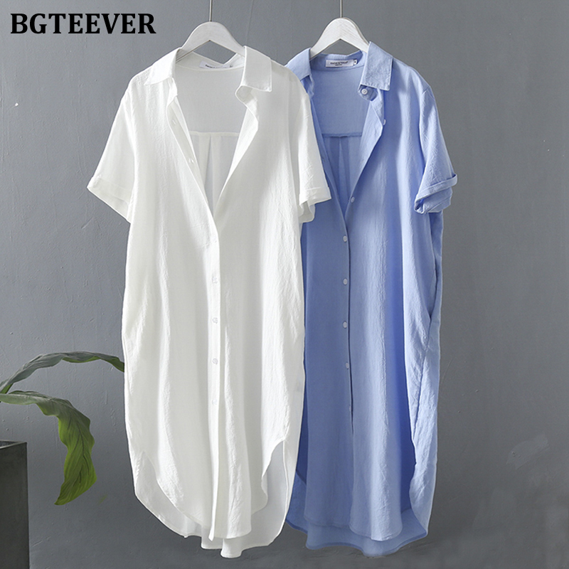 BGTEEVER 2020 Summer Loose Short Sleeve Shirt Dress Women Single-breasted Side Split Female Dress Casual Midi Vestidos Femme