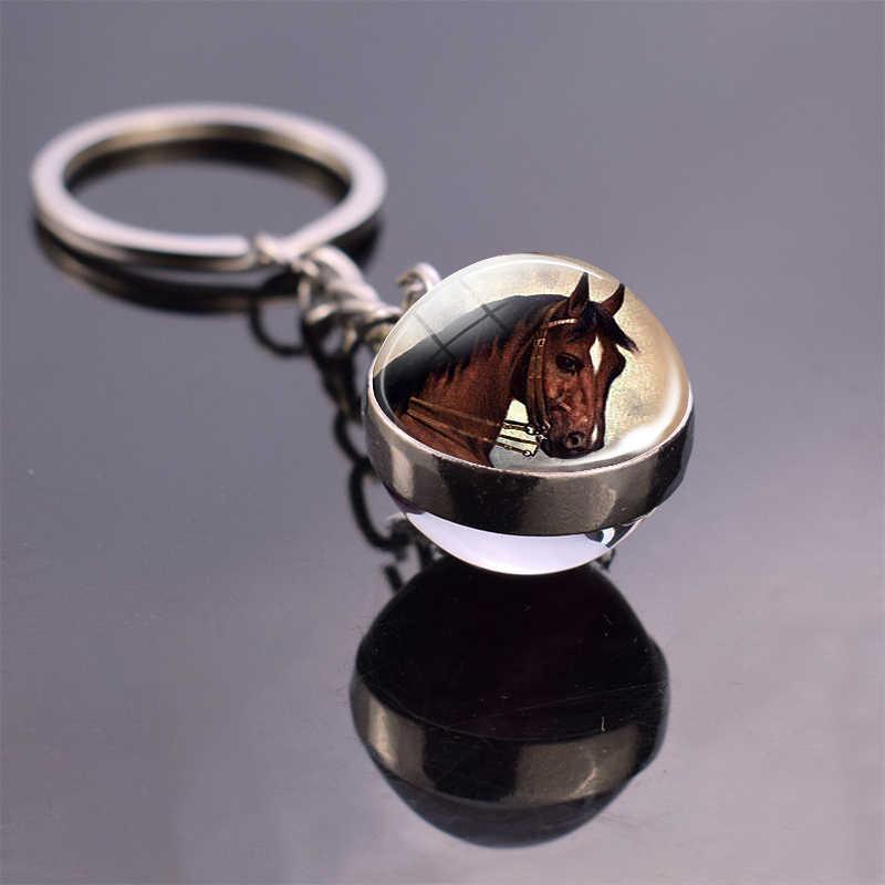 พวงกุญแจม้าคู่แก้ว Ball Keychain สีแดงสีน้ำตาล Horse HEAD Art Charm เครื่องประดับม้าสัตว์ Keyring