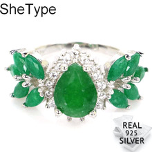24x13mm 3.6g Ravishing Top Real Green Emerald CZ Real 925 Solid Sterling Silver Rings