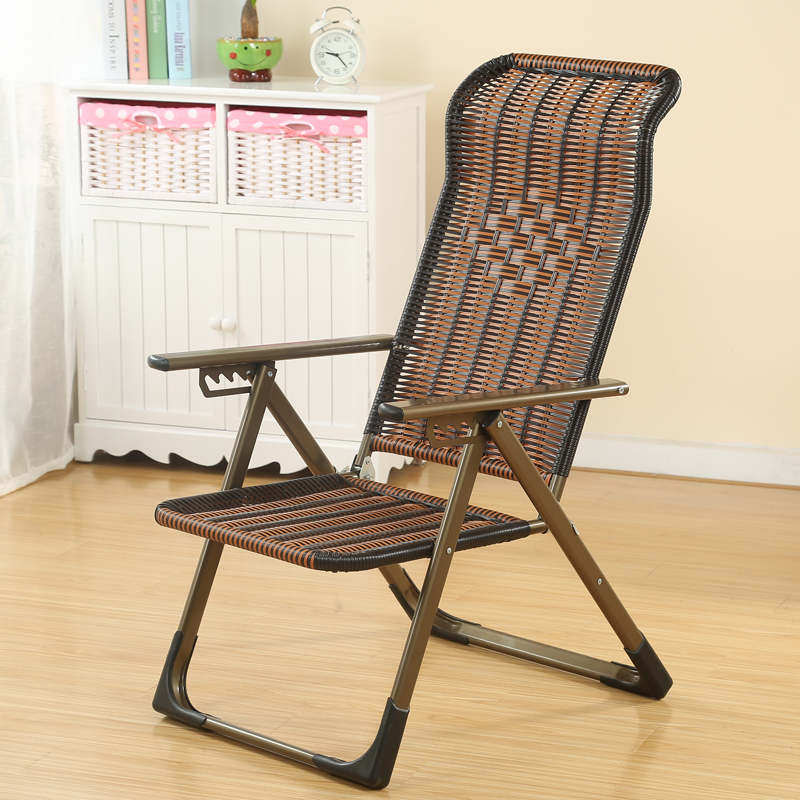 Rattan Lounge Chair Recliner Home Foldable Wicker Chair Office Lunch Break Siesta Ride Cool Chair Elderly Chair Lazy Chair