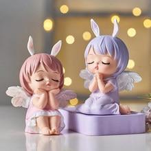 Figuritas de Ángel para bebé, miniaturas de jardín de hadas, adornos de resina, estatua de elfo para niña, decoración para el hogar, decoración para habitación, regalos de cumpleaños para niños