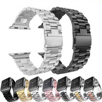 For Apple Watch Series 5 4 3 2 Band Strap 42mm 40mm 44mm Black Stainless Steel Bracelet Strap Adapter for iWatch Band 5 4 3 38mm stainless steel watchband adapter for iwatch apple watch series 1 2 3 4 38mm 40mm 42mm 44mm wrist band link strap bracelet