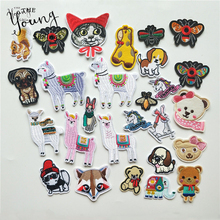 Cartoon Mixture Hot melt adhesive Patches Animals embroidered Applique Sheep Bear Dog Iron On Clothes badge DIY Sticker
