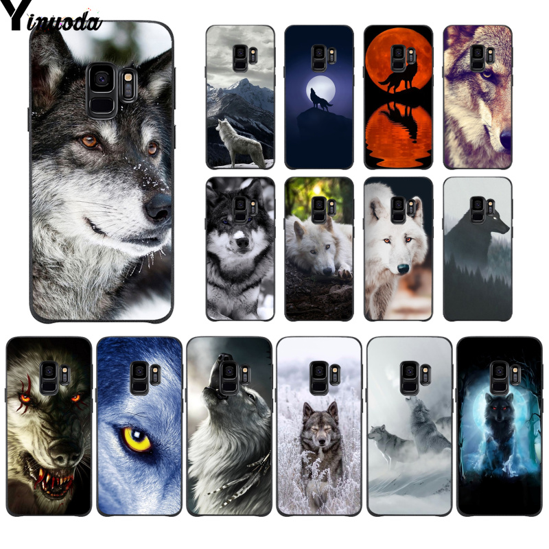 Yinuoda Animal howling <font><b>white</b></font> snow wolf Colorful Cute Phone <font><b>Case</b></font> for <font><b>Samsung</b></font> S9 S9 plus S5 S6 S6edge S6plus <font><b>S7</b></font> S7edge S8 S8plus image