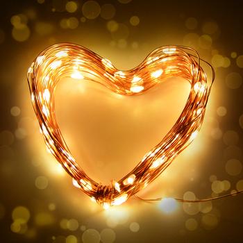 Drut miedziany światła do szafki 2M 5M 10M girlanda żarówkowa LED Lights boże narodzenie Home Decor zasilanie bateryjne świąteczna lampa ślubna Guirlande tanie i dobre opinie AIMENGTE CN (pochodzenie) 30000Hrs 2M 5M 10M Fairy String Lights Suche baterii Przełącznik