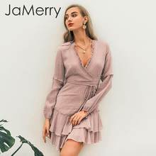 JaMerry Women v neck white dress Ruffled lantern chiffon female summer dress Beach holiday strap striped ladies chic mini dress(China)