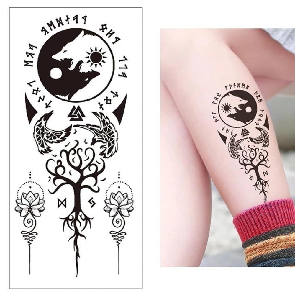 Taichi Viking Runes Waterproof Tattoos Fox Mandala Tattoo Stickers Woman Girl Lady Maori Tree Fake Tattoos Body Art Arm Tatoo