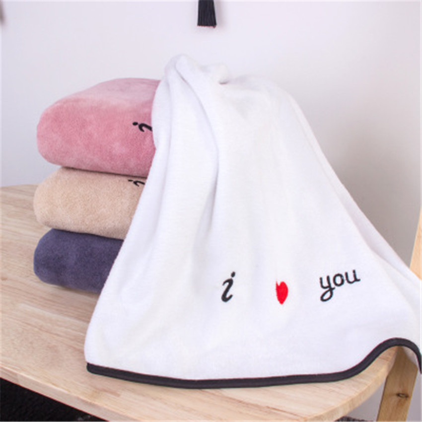ZHUO MO I love you embroidery microfiber bath towel for adult gifts for couple travel 4