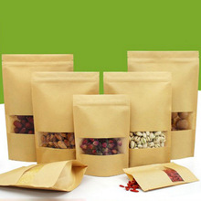 Ziplock Kraft Paper Window Tea Bag Dried Food Fruit Tea Gift packaging Self Sealing Stand up Teabags 20pcs/lot