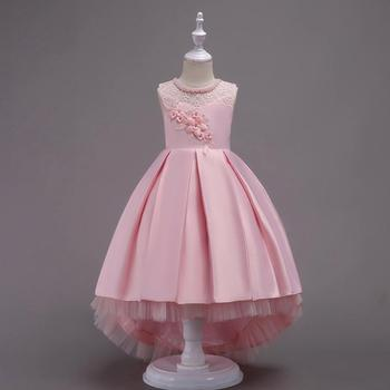 Cute Pink Flower Girl Dresses Scoop A Line Flower Pearls Tank Birthday Girls Holy First Communion Gowns Y2-Y12