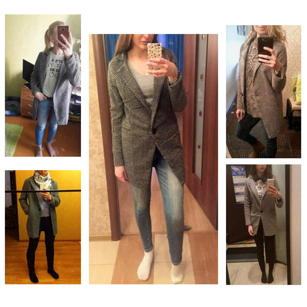 Casaco feminino longo de lã solto e solto, blusa de cor sólida e mistura de lã para mulheres, inverno S-XL