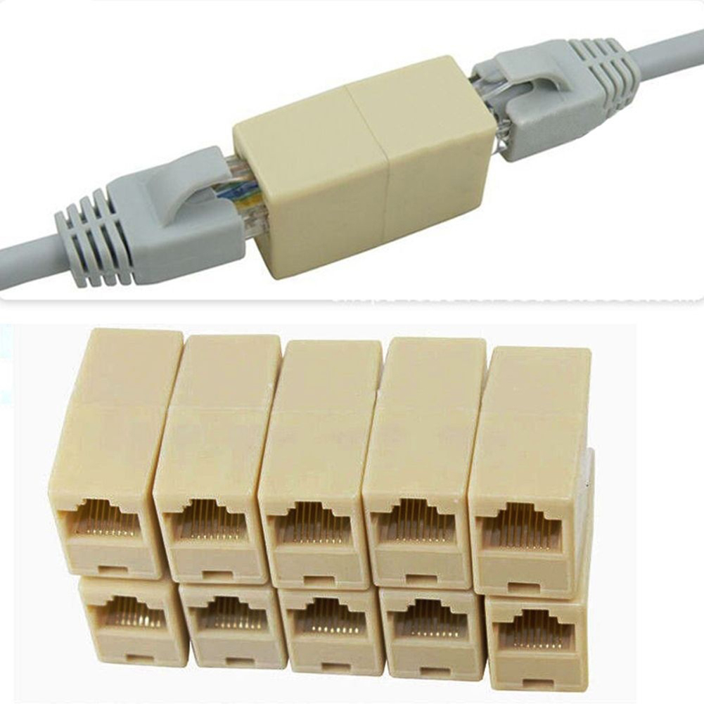 2 Pack Ethernet Lan Cable Joiner Coupler Connector Network RJ45 Cable Cat5