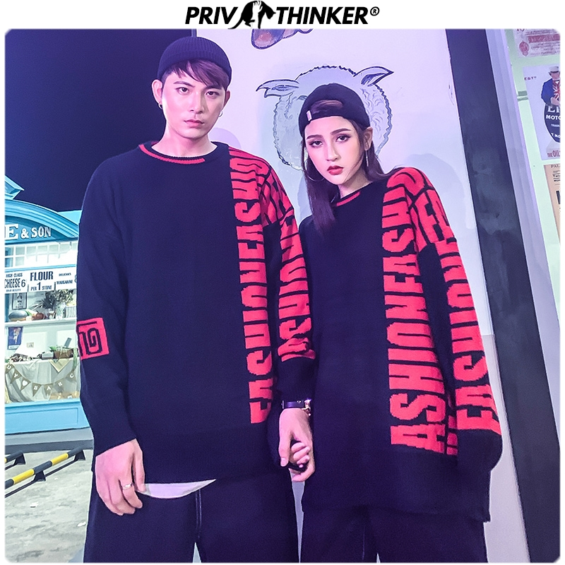 Privathinker Men Woman Knitted Street-Style Fashion Sweaters Couple Hip Hop Autumn Korean Pullovers Tops Male 2019 Loose Clothes