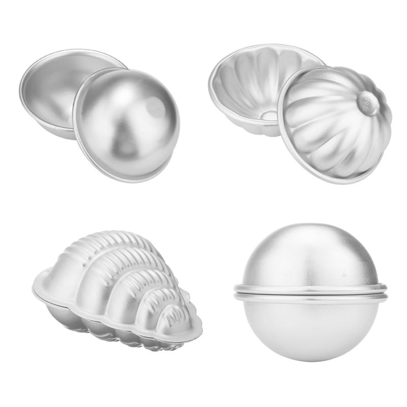 4 Type 3D Aluminum Alloy Bath Bombs Mold Ball Sphere Shape Bath Salt Bomb Set Mold DIY Bathing Tool Accessories