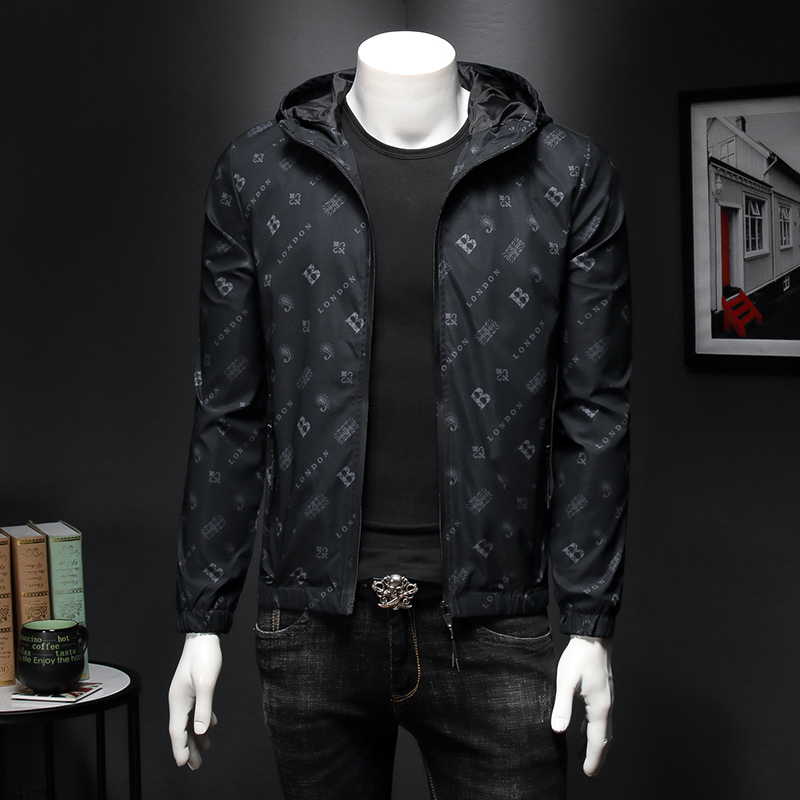 High Quality 2019 Autumn Designer Brand Men Hooded Jacket B Letter Embroidery Mens Jacket With Hat Outerwear Coat 4XL 5XL 2118
