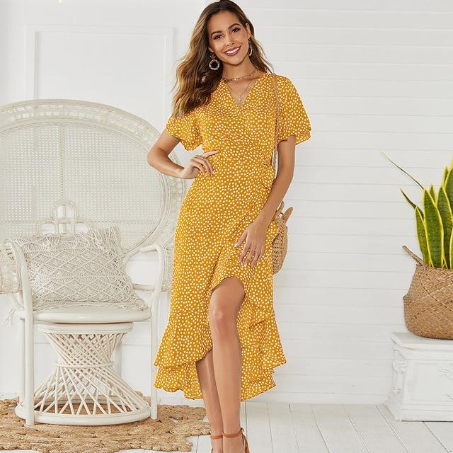 Summer Beach Maxi Dress Women Floral Print Boho Long Chiffon Dress Ruffles Wrap Casual V-Neck Split Sexy Party Dress Robe 11