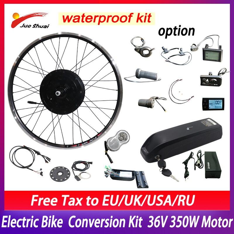 36V 350W Brushless Hub Front Motor Electric Bike Conversion Kit 36V 12Ah 15Ah 18AH 21Ah Bicycle Hailong Battery In Samsung Cell
