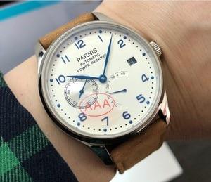 Image 3 - Safira cristal 43mm parnis branco dial reserva de energia automático auto vento movimento mecânico data automática relógio masculino pa010 20