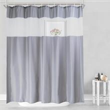 UFRIDAY rideau de douche en tissu gris et blanc, pour salle de bain avec fenêtre avec gaze blanche translucide, moderne