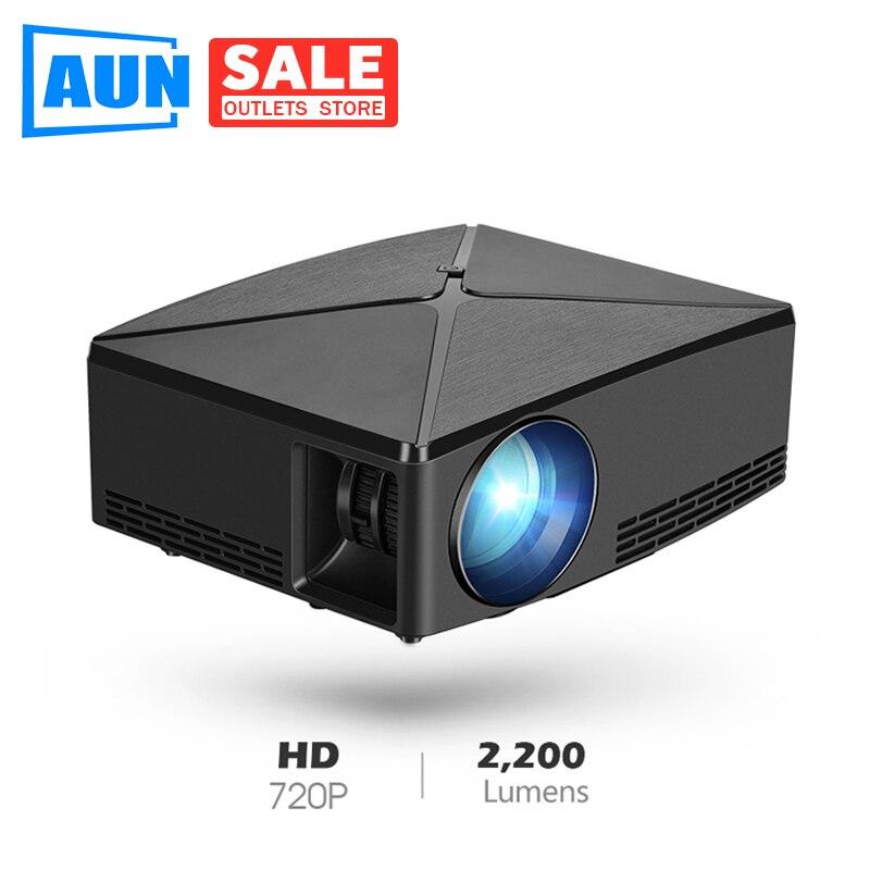 AUN C80 HD MINI Projektor, 1280x720 P, Video Beamer, 3D Projektor. Unterstützung 1080 P, HD IN, USB, (Optional C80 UP Android version WiFi)