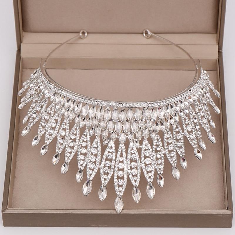 Trendy Full Rhinestone Crystal Tiara Big Crown for Wedding Bride Queen Headpiece Crown Wedding Bridal Hair Accessories