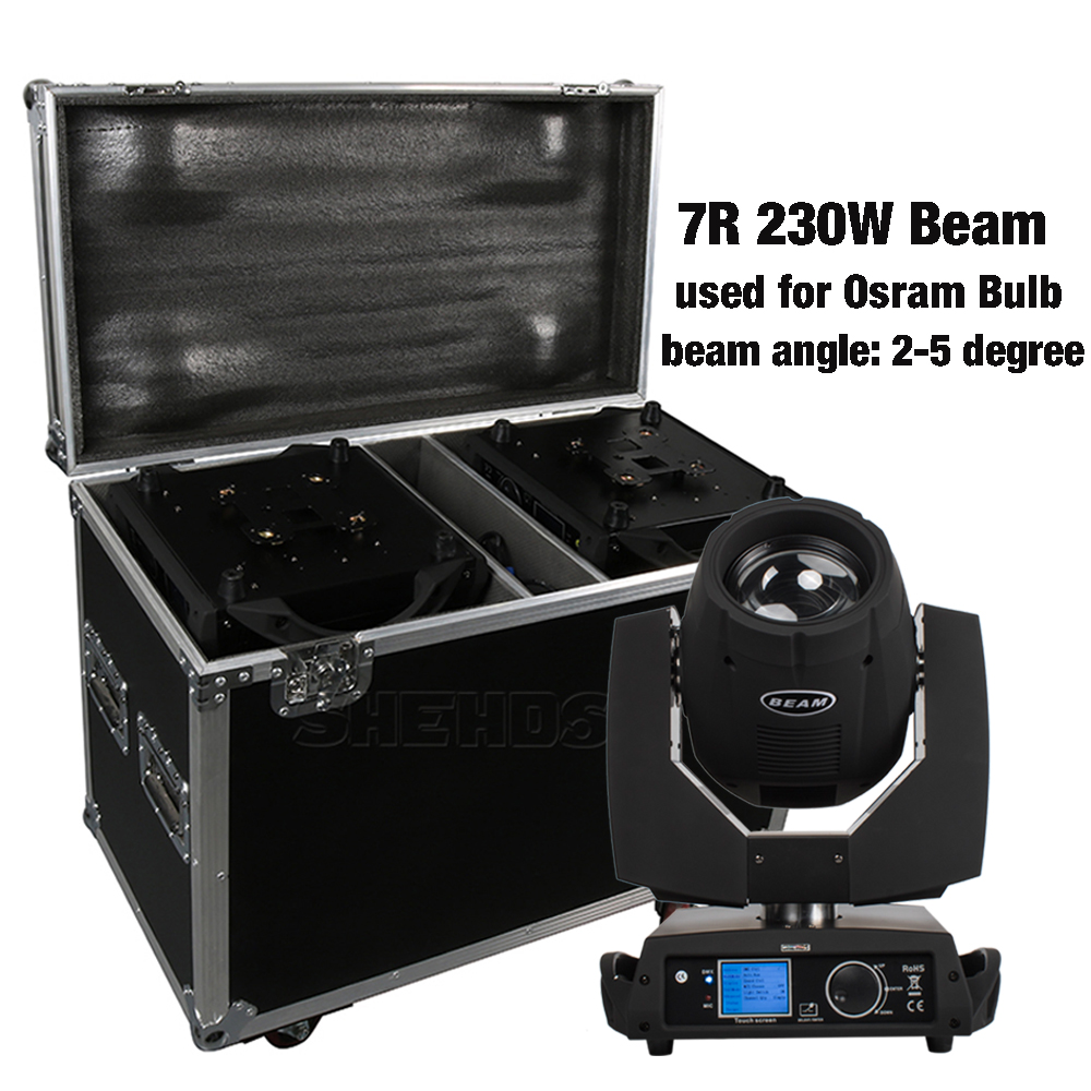 2PCS 7R 230W Moving Head Beam With Flight Case Professional DJ DMX Stage Lighting Power IN/OUT Touch Screen Sharpy Lyre Disco