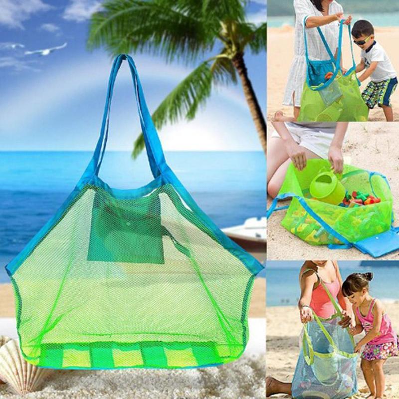 Enfants sable loin portable sac en maille enfants plage jouets stockage divers sacs enfants jouet sac de rangement