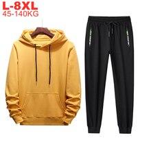 Mens Tracksuits Sweatpants And Hoodie Set Big Size 8xl 6xl 5xl 2 Piece Jogger Sets Men Sweats Suits Jacket Pants Male Sportswear