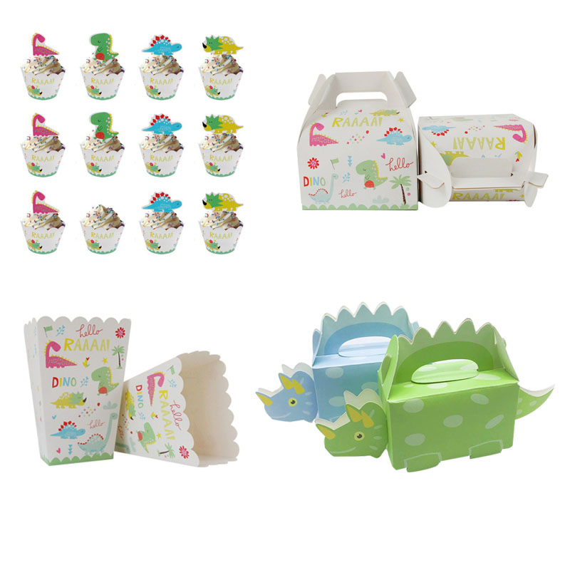 Dinosaur Theme Paper Box Jungle Party Candy Bag Popcorn Box Party Favor Cupcake Birthday Party Decorations