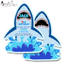 Shark Theme Invitation Card Party Supplies Sea Animals Event Birthday Party Decorations Custom-Made Personalized Invitation