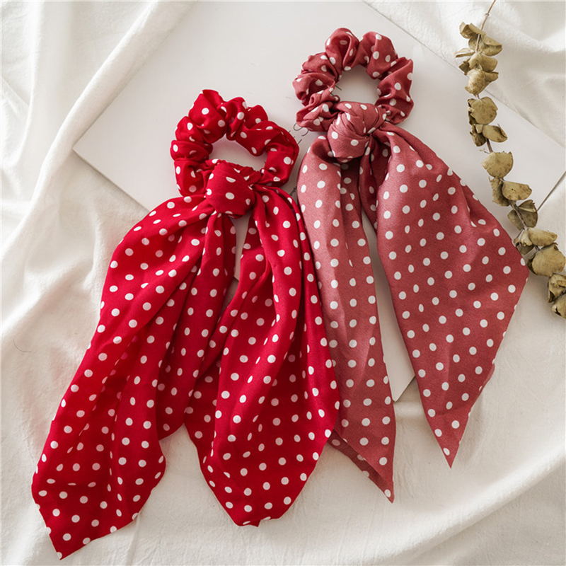 Women Ponytail Hair Ties Scarf Elastic Hair Rope For Women Bow Ties Scrunchies Hairbands Flower Dots Ribbon Hair Accessories New